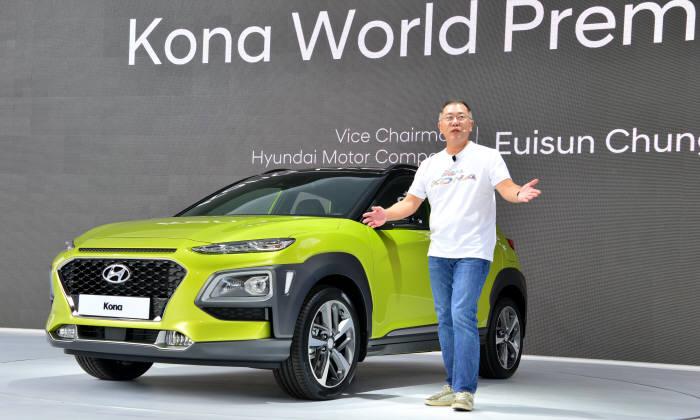지난달 '코나(KONA)' 신차발표회에서 정의선 현대차 부회장이 코나 전기차 판매 계획을 밝힌 바 있다.