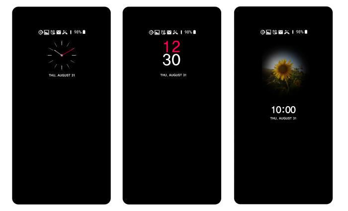 LG V30 화면에서 올웨이즈온 기능을 실행한 모습.