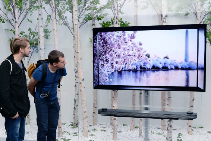 IFA 2017에서 관람객이 LG전자 OLED TV를 살펴보고 있다. (사진=전자신문DB)