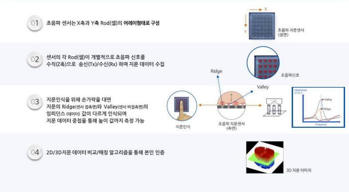 초음파 지문인식센서 동작 원리(자료: 베프스)
