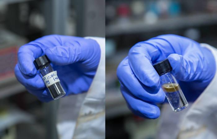 이산화탄소-연료유 전환 촉매 기술(왼쪽이 이산화탄소의 수소화 반응에 활용된 촉매 '델라포사이트'이고, 오른쪽이 이 반응으로 생성된 디젤유다.