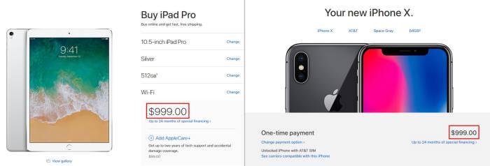 애플은 미국에서 아이패드 프로 10.5인치(512GB)와 아이폰X(64GB)을 999달러 동일한 가격에 판매하고 있다. 반면, 우리나라에서는 아이패드 프로 10.5인치(512GB)와 아이폰X(64GB) 가격이 각각 126만9000원, 142만원이다.