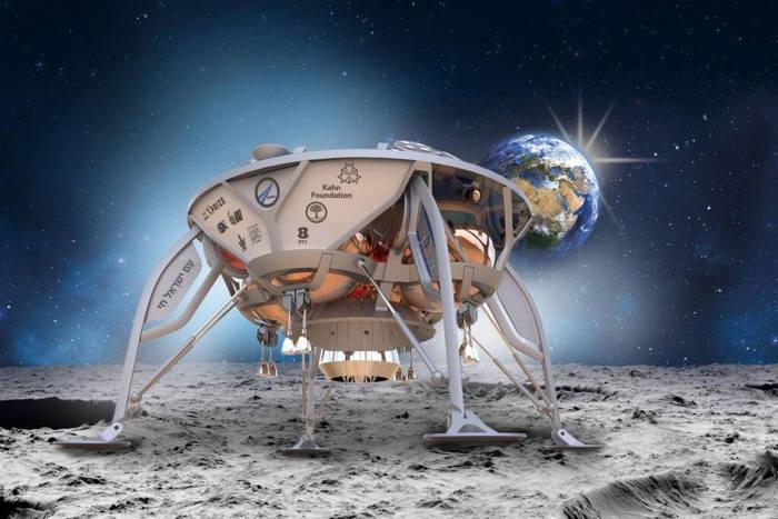 사진3. 구글 루나 X프라이즈 대회에 참가하고 있는 이스라엘 팀이 제작한 달 착륙선. 미국의 민간기업 팰콘9로켓으로 발사되고 착륙후 500m 이동은 추력기를 이용한 점프로 해결한다. 출처: SpaceIL