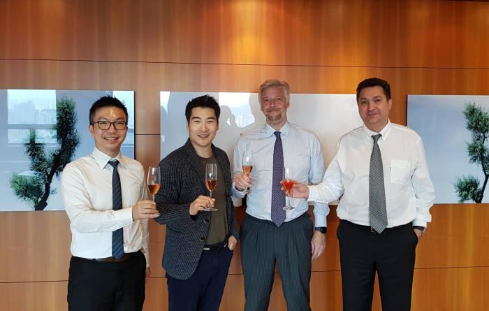 보스코 웡 뷰로베리타스(BV) M&A팀장, 이정원 ICTK 부대표, 알렉상드르 노르 BV CFO, 타릭 마하메드 BV 부사장(왼쪽부터)