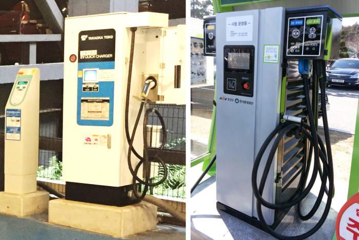 충전 규격을 '차데모(CHAdeMO)'로 통일한 일본 충전기(왼쪽)와 '콤보1(TYPE1)' '차데모(CHAdeMO)' '교류 3상' 세 가지 규격을 모두 채택한 한국 충전기 모습.