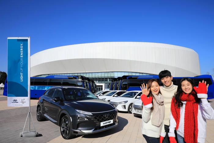 현대자동차가 평창 동계올림픽 기간 제공하는 차세대 수소전기차와 전기차