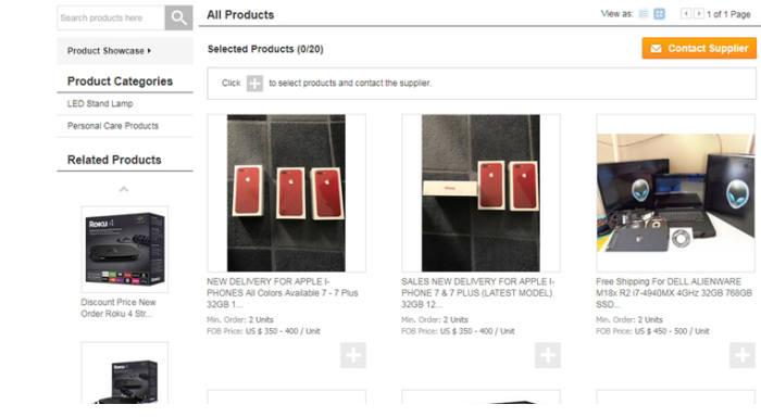 한국기업의 알리바바닷컴 기업계정을 탈취해 애플 아이폰 등 제품을 올려놓은 모습