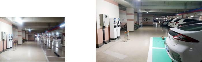 KT가 최근 부실시공으로 적발된 부산 지역 한 아파트 전기차 충전소(왼쪽)를 개선했다. (사진제공 KT)