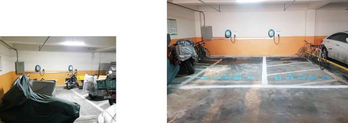KT가 부실시공으로 적발된 일산 지역 한 아파트 전기차 충전소(왼쪽)를 개선했다. (사진제공 KT)