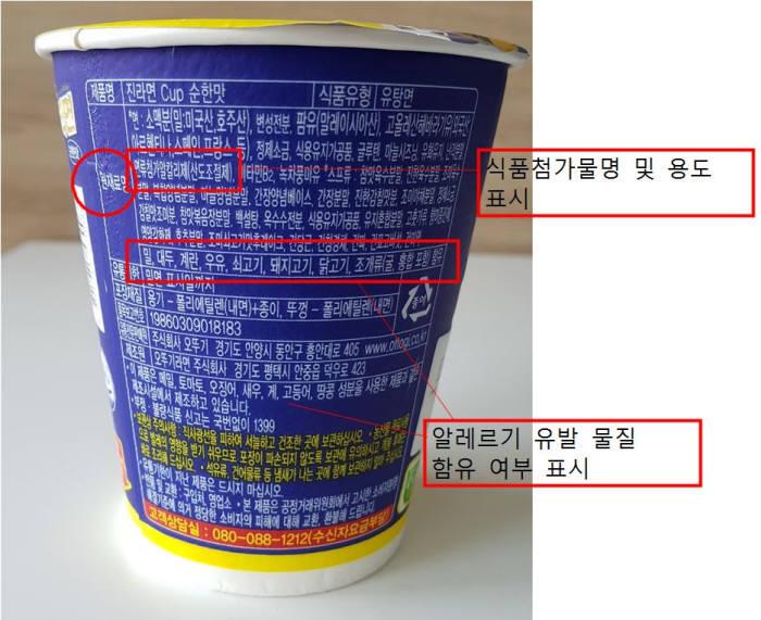 사진 1. 식품에 사용된 첨가물은 원재료명에 표시되어 이를 통해 소비자는 식품에 어떤 첨가물이 들어갔는지 알 수 있다. (출처: 현계영)