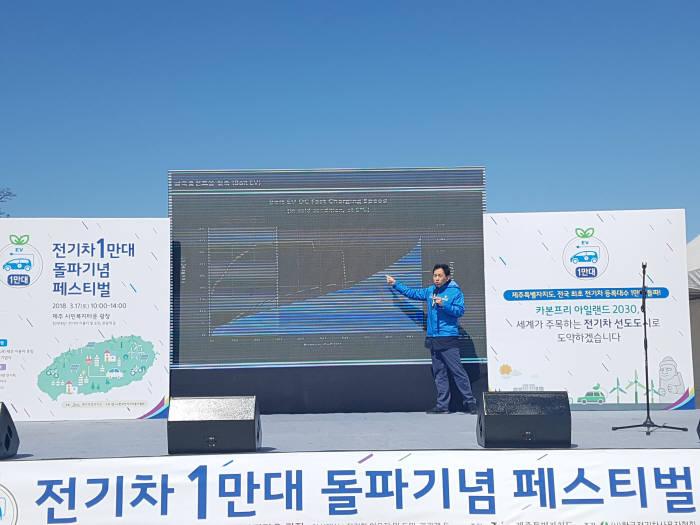 김민식 전기차 이용자가 공용 충전인프라 확대를 위해 '급속충전속도 및 테이퍼링 관련 정보공개 의무화'를 주제로 발표를 하고 있다.