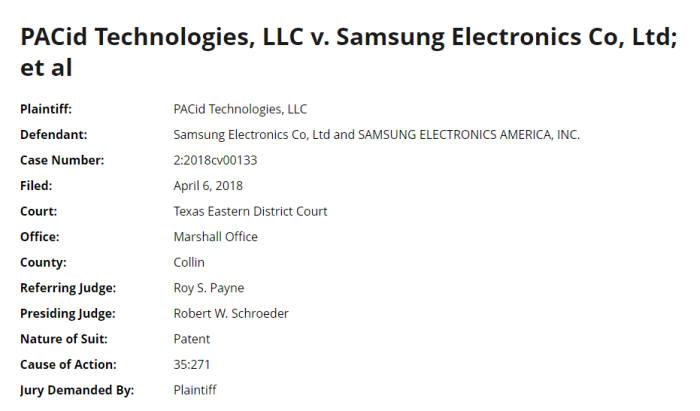 PACid 테크놀리지가 6일(현지시간) 미국 텍사스 동부법원에 삼성전자와 삼성전자 미국 법인을 상대로 제기한 특허소송 개요. 로버트 W.슈로더 판사가 이번 사건을 맡았다.