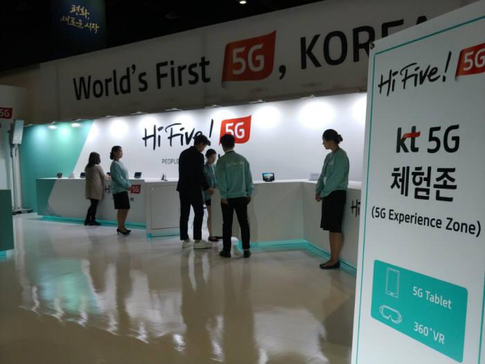 일산 킨텍스 남북정상회담 프레스센터에 마련된 KT 5G 체험존 전경.
