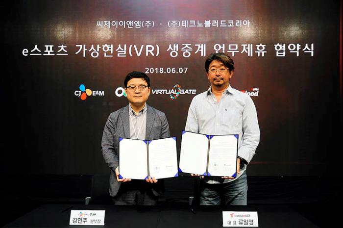 e스포츠 가상현실(VR) 생중계를 위한 MOU(양해각서) 체결을 한 CJ E&M OGN 강헌주 본부장(좌)과 테크노블러드코리아 류일영 대표(우)