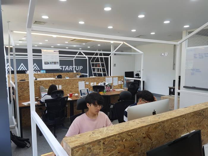 스타트업 오피스에서 창업자들이 업무를 보고 있다.