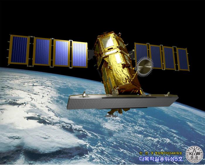 다목적실용위성 5호 우주상공 상상도.