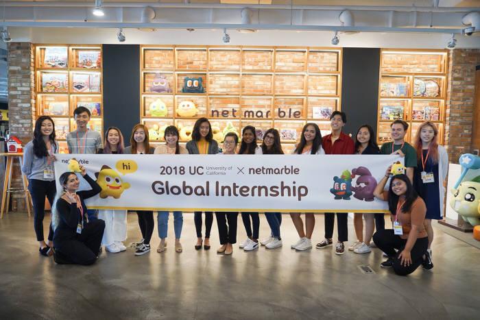 넷마블은 미국 캘리포니아대, 연세대와 외국인과 유학생을 대상으로 한 2018 UC-넷마블 글로벌 인턴십을 두 달간 진행한다