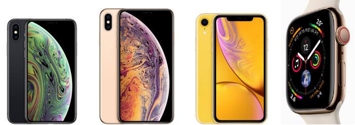 왼쪽부터 아이폰XS, 아이폰XS 맥스, 아이폰XR, 애플워치 시리즈4