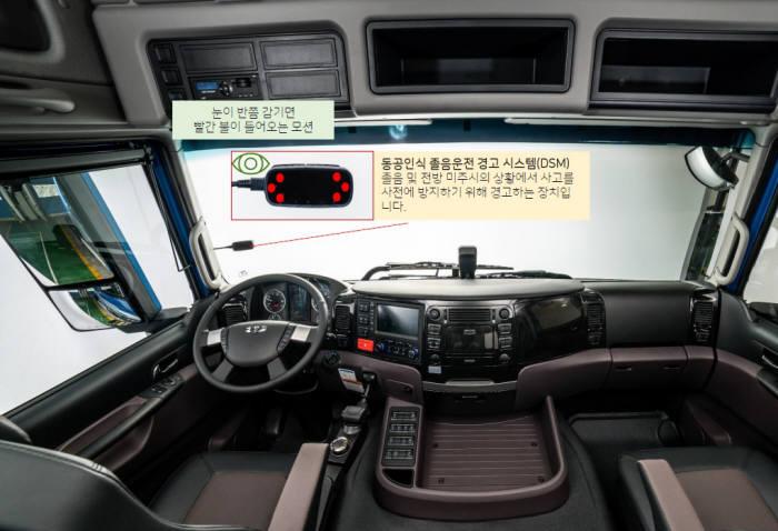 타타대우상용차 2019년형 프리마에 차량 내부에 탑재한 동공인식 졸음운전 경고장치 DSM(Driver Status Monitoring) 시스템.