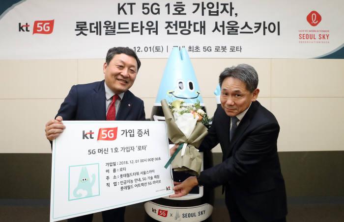 이필재 KT 마케팅부문장(오른쪽)이 5G 1호가입자 AI로봇 로타를 기념했다.