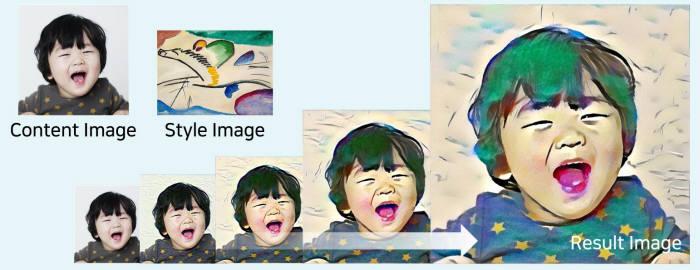 펄스나인 일러스터 인공지능(AI) 서비스 페인틀리를 통해 만들어낸 AI 이미지. 콘텐츠 이미지가 원본, 스타일 이미지가 AI가 학습한 화풍, 리절트 이미지가 AI 이미지다. <펄스나인 제공>