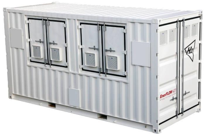 H2의 바나듐 레독스 플로 배터리(VRFB) 에너지저장장치(ESS).