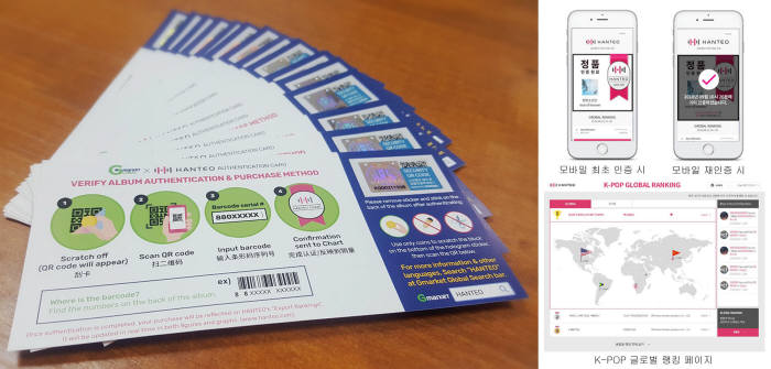 한터차트가 G마켓글로벌과 시행한 시범사업 인증카드(왼쪽)와 모바일 인증 화면