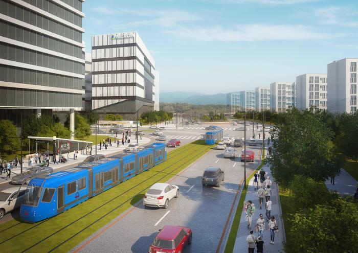성남 판교 트램 설치 조감도.