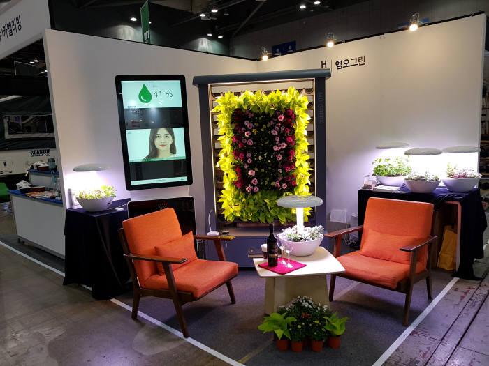 엠오그린이 개발한 실내 공기정화·가습·LED 무드조명 기능의 그린 월.