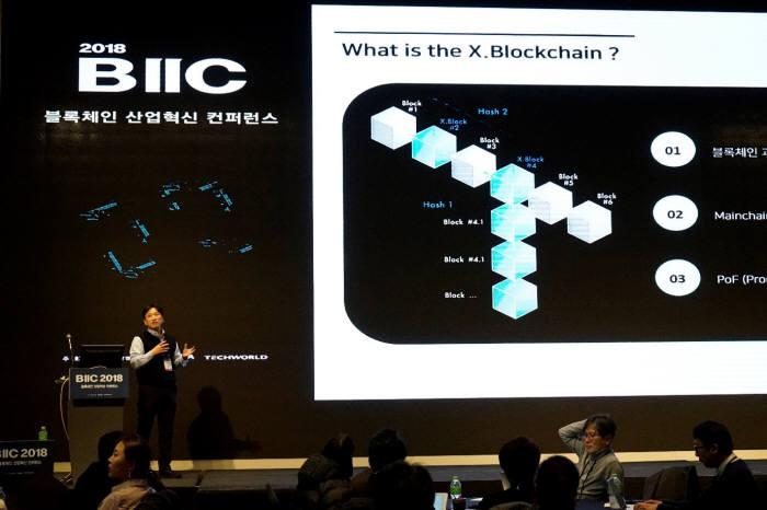 지난해 12월 권용석 엑스블록시스템즈 최고기술책임자(CTO)가 2018 블록체인 산업혁신 콘퍼런스서 엑스블록체인을 발표했다.