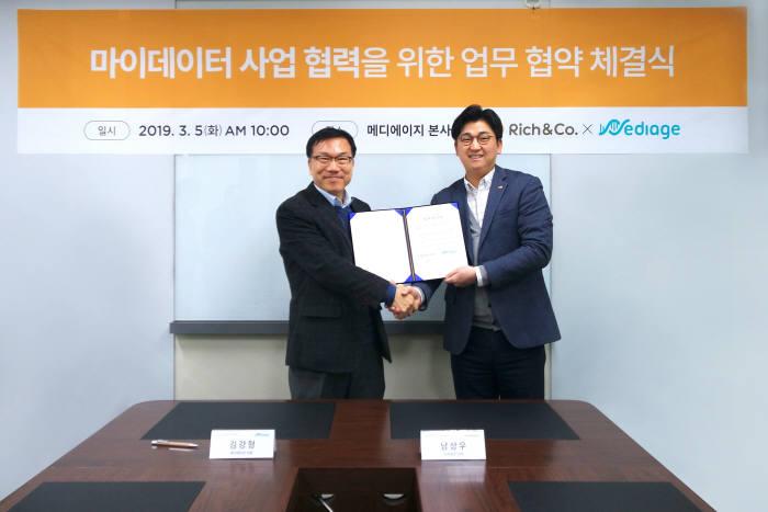 남상우 리치플래닛 대표(오른쪽)와 김강형 메디에이지 대표가 마이데이터 실증 서비스 구현을 위한 업무협약(MOU)을 체결했다.