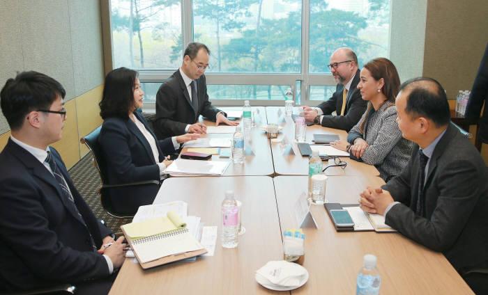 유명희 산업통상자원부 통상교섭본부장(왼편 가운데)은 서울 여의도 JW메리어트호텔에서 한-벨기에 비즈니스 포럼 참석차 방한중인 일함 카드리 솔베이 CEO(오른편 가운데)와 면담을 갖고 한국투자 평가 및 투자 계획과 향후 협력방안 등을 논의했다.