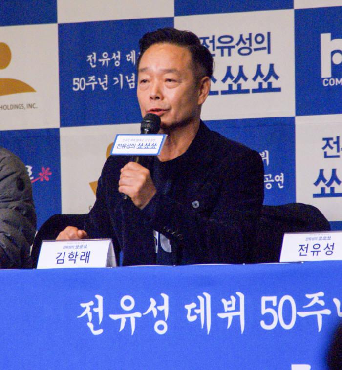 최근 전유성의 데뷔 50주년 기념공연 전유성의 쑈쑈쑈:사실은 떨려요 제작발표회가 열렸다. 공연에 함께할 개그맨 김학래의 모습. (사진=박동선 기자)