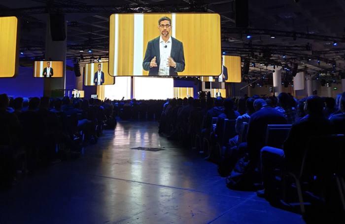9일(현지시간) 미국 샌프란시스코에서 열린 구글 넥스트에서 순다르 피차이 구글 최고경영자(CEO)가 발표하고 있다. 베스핀글로벌 제공