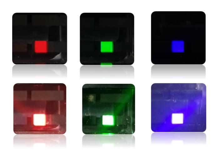 ETRI 개발 기술을 적용한 QLED(사진 아래)는 동일 조건에서 기존 QLED(사진 위)보다 더 밝게 빛을 발한다.
