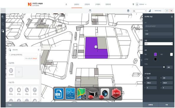 다비오 실내지도 플랫폼 지도 관리로 실내지도 제작과 수정하는 화면. 다비오 제공