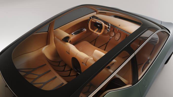 제네시스의 전기차 기반 콘셉트카 민트 콘셉트(Mint Concept) 실내.