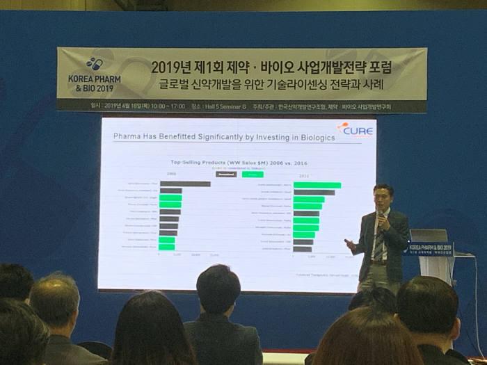 김태호 큐어세라퓨틱스 대표가 제1회 제약바이오 사업개발전략 포럼에서 글로벌 신약개발을 위한 기술라이센싱 전략과 사례를 주제로 발표하고 있다