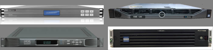 방송장비 협력기업들의 UHDTV 방송용 인코더 제품 (좌상으로부터 시계방향으로 디에스브로드캐스트, 카이미디어, 픽스트리, 캐스트윈)