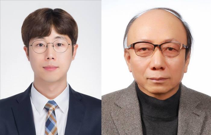 포스텍 신소재공학과 한현 박사(왼쪽)와 정현명 명예교수.