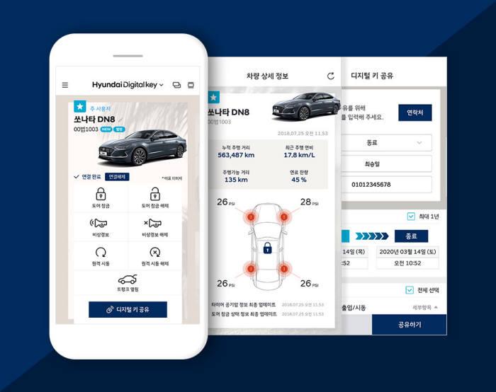 케이스마텍이 현대자동차 신형 쏘나타 차량에 공급한 디지털 키 솔루션 모바일 화면 모습.