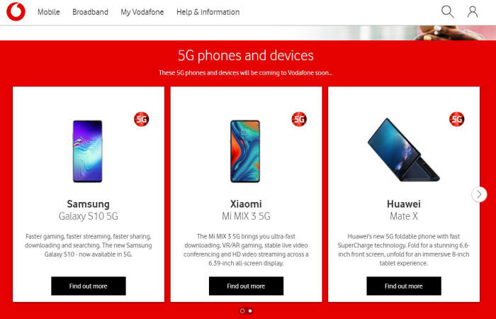 영국 보다폰은 당초 곧 출시할 5G 스마트폰 목록에 화웨이 폴더블폰 메이트X를 소개했으나 현재는 삭제했다.