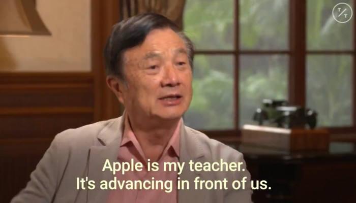 """런정페이 화웨이 회장이 블룸버그통신과 인터뷰에서 """"애플은 나의 스승""""이라며 중국 내 보복조치에 대한 반대 입장을 밝혔다.(블룸버그 인터뷰 영상 캡쳐)"""