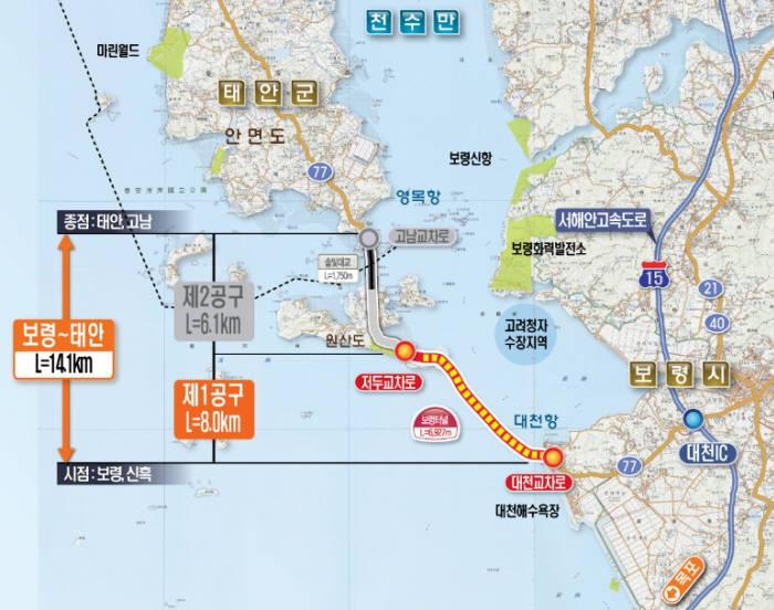보령-태안 구간과 보령해저터널
