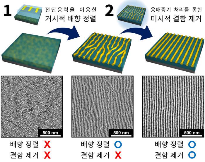 블록공중합체를 이용해 나노패턴을 단계적으로 완성하는 과정을 전자현미경으로 관찰한 연구사진.