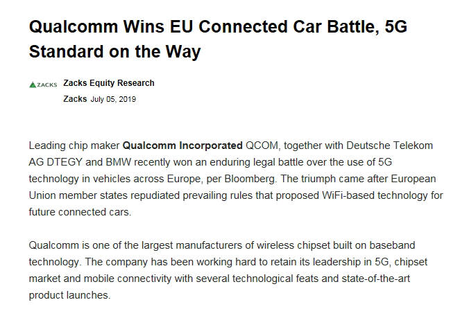 외신은 EU의 이번 결정이 BMW와 퀄컴, 도이치텔레콤 등 5G 지지 진영의 승리라고 평가했다.