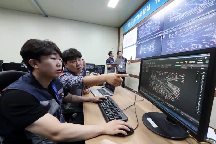 광주FINA세계수영선수권대회 종합 상황실에서 KT 직원들이 대회 통신망을 점검하고 있다.