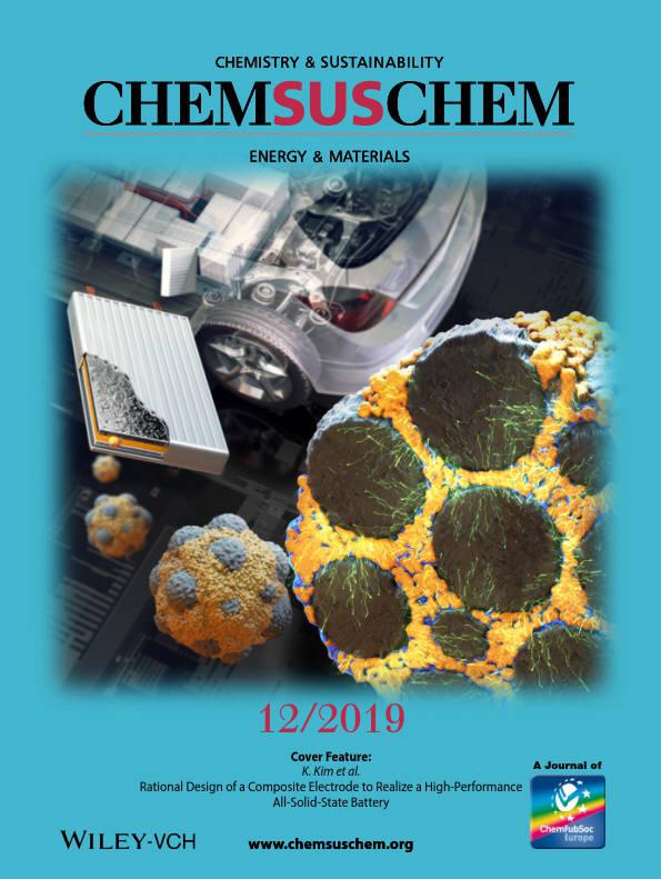 전자부품연구원(KETI)이 개발한 전고체전지 전극 대면적화 요소기술 관련 내용이 국제 학술지인 켐서스켐(ChemSusChem) 표지 논문으로 실렸다. (사진=KETI)