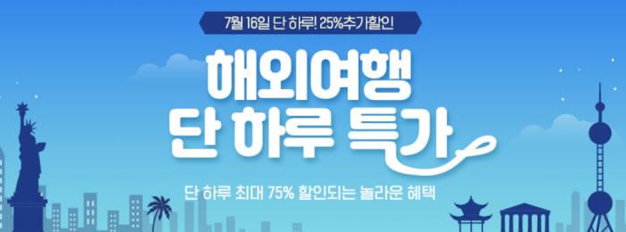 """옥션 """"16일 하루 해외여행 상품 최대 75% 할인"""""""