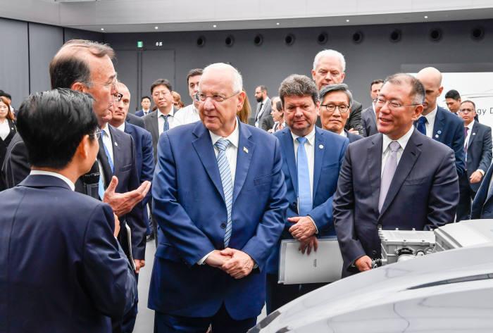 레우벤 리블린 이스라엘 대통령(사진 중앙)과 정의선 현대자동차그룹 수석부회장(사진 우측 앞)이 넥쏘 관련 설명을 듣고 있다.